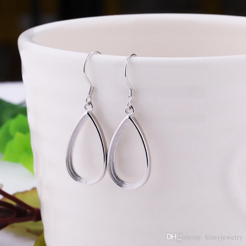 925 Sterling Silver Semi Mount Hook Earrings for Amber Lapis Lazuli Setting Fine Jewelry Women Earrings Setting DIY Stone