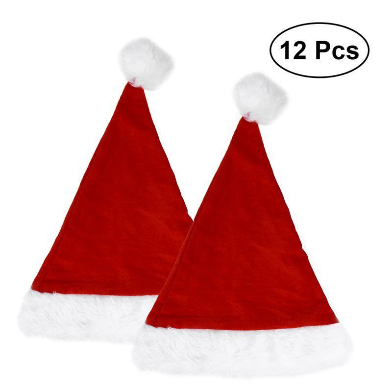 Immagini Cappello Di Babbo Natale.12pcs Pack Cappello Di Babbo Natale Morbido Peluche Cantare Cappello Di Natale Decorazione Per Sacchetto Del Regalo Del Capretto Di Natale Xmas Cap