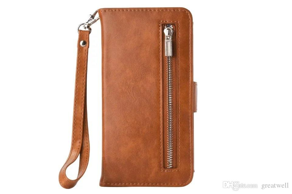 2 in 1 staccabile Zipper il portafoglio di cuoio del telefono caso della copertura con la cinghia l'iphone 11 Pro Max XS XR 8 7 6S Inoltre Samsung S8 S9 S10e Inoltre Nota 8 9