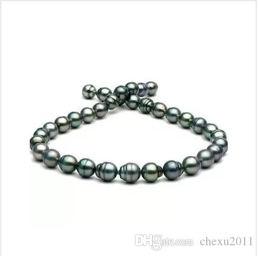 Collar de perlas barrocas de 10-12 mm tahitian pavo real verde 18 pulgadas de oro 14k broche