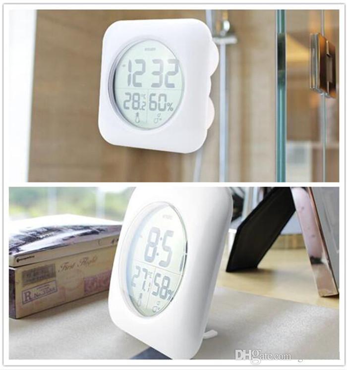 Agreable Acheter Étanche Douche Temps Montre Numérique Salle De Bains Cuisine Horloge  Murale Argent Grande Température Et Humidité Affichage G353 De $30.16 Du ...