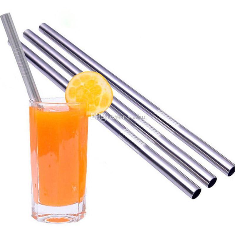 Cannucce in acciaio inox dritto piegato bere cannucce riutilizzabili birra succo di frutta bevanda del tè da pranzo bar attrezzo della cucina dhl libero WX9-470