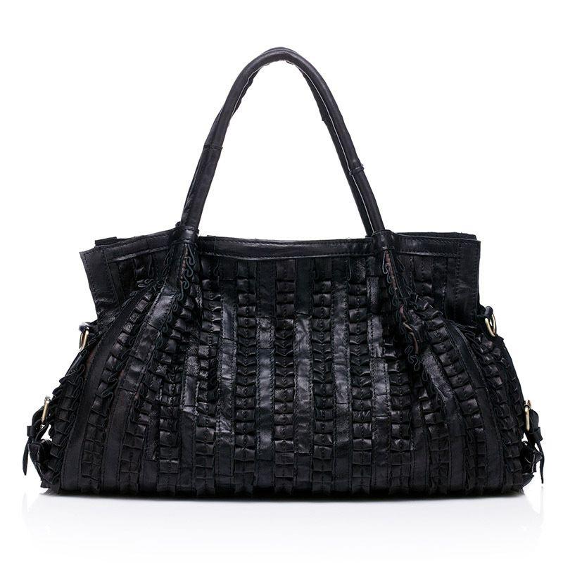 Sheepskin Splicing Women S Shoulder Bag Large Ladies Handbag Genuine  Leather Hobos Bag Black Women Handbags Totes Messenger Bags Luxury Bags  Womens Wallets ... 79b548e1f0198