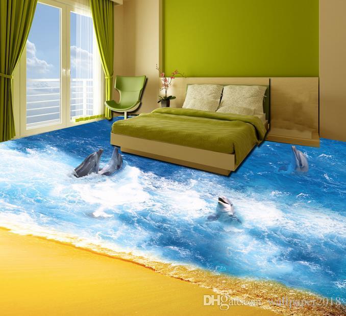 Floor wallpapers for living room Ultra Clear Ocean World dolphin 3D floor custom photo murals