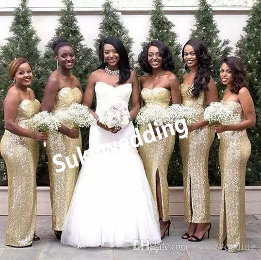 Sparkly Gold Sequin Bridesmaid Dresses Sweetheart Side Split Wedding Party Dresses Zipper Back Sheath Maid of Bride Dress Floor Length