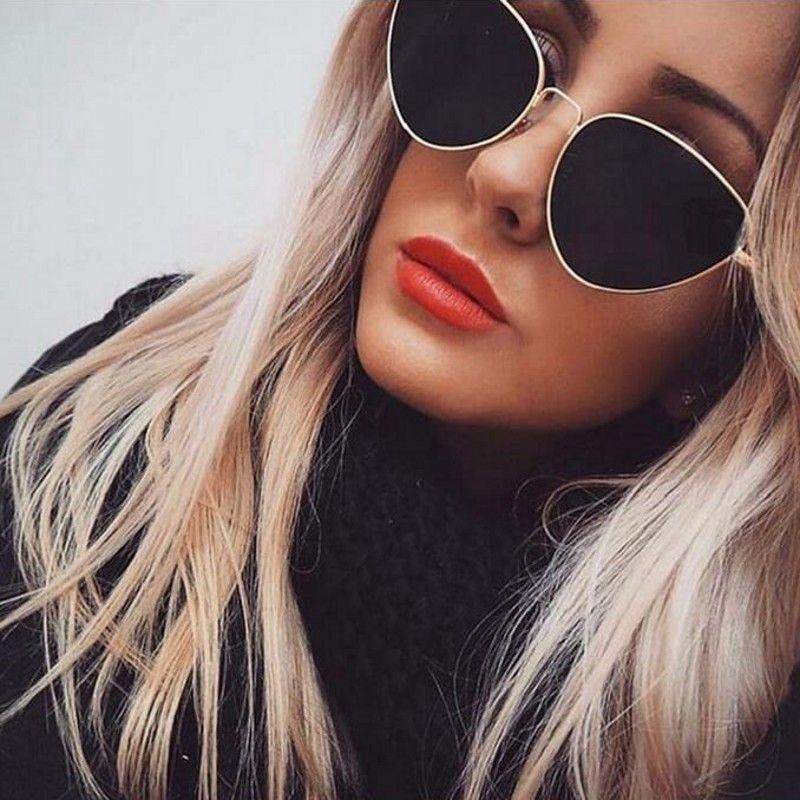 b0eafaa3d5 Retro Ladies Cat Eye Sunglasses Yellow Red Lens Stylish Fashion ...