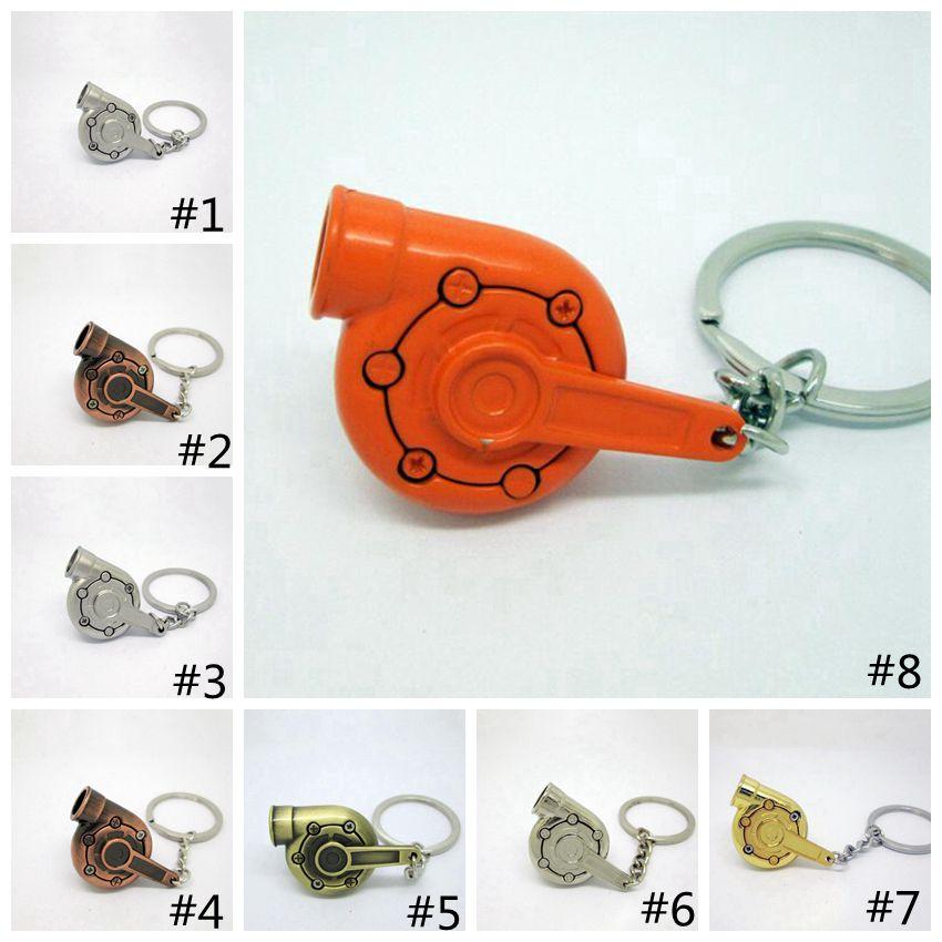 Turbo Keychain Creative Hot Auto Parts Models Spinning Gunmetal Turbine Turbocharger Key Chain Ring Key GGA472