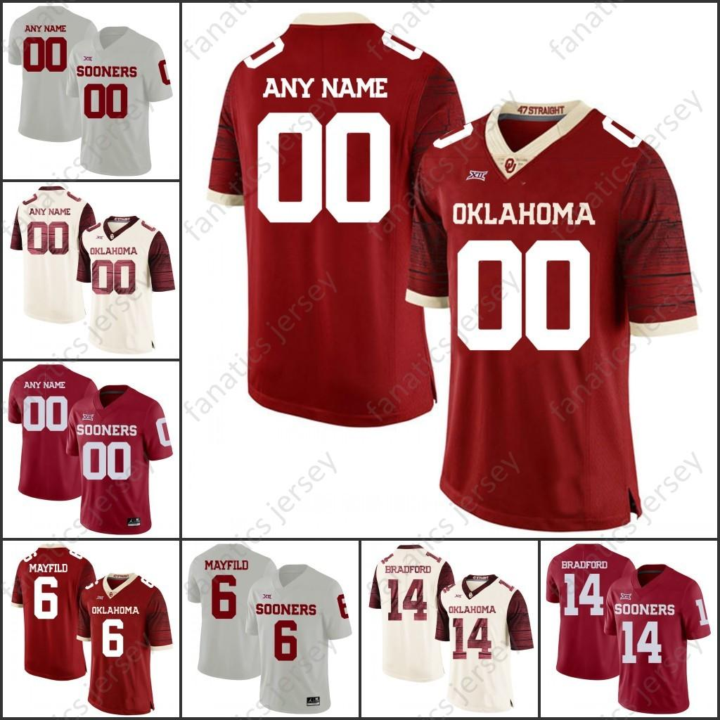 d75eb780690 Custom Oklahoma Sooners College Football2018 NCAA Any Name Number 1 Kyler  Murray 6 Baker Mayfield 14 Sam Bradford Jersey