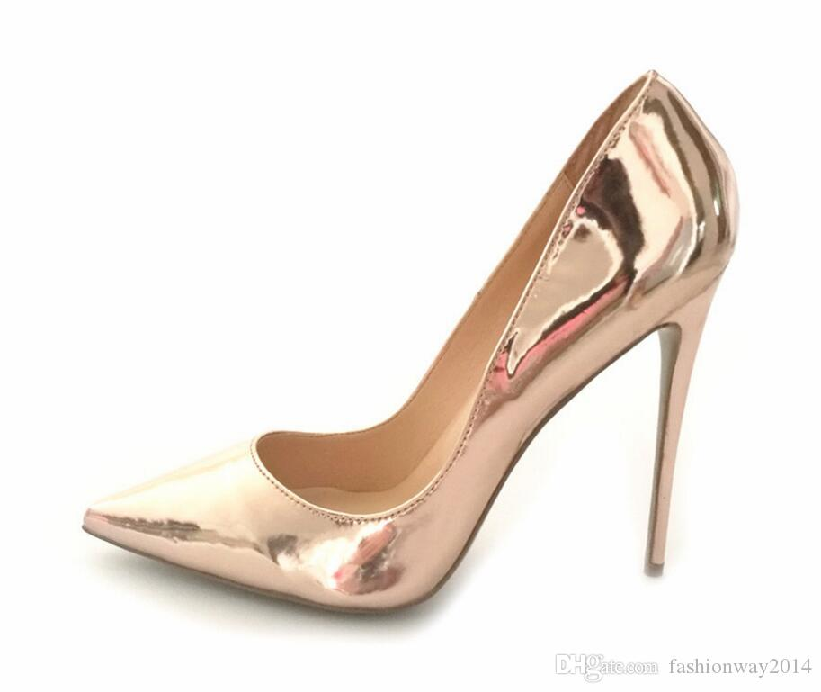 Frühling rot unten Spitz High Heels Pumps Lackleder Gold Silber Party Hochzeit sexy Schuhe Größe 34-43