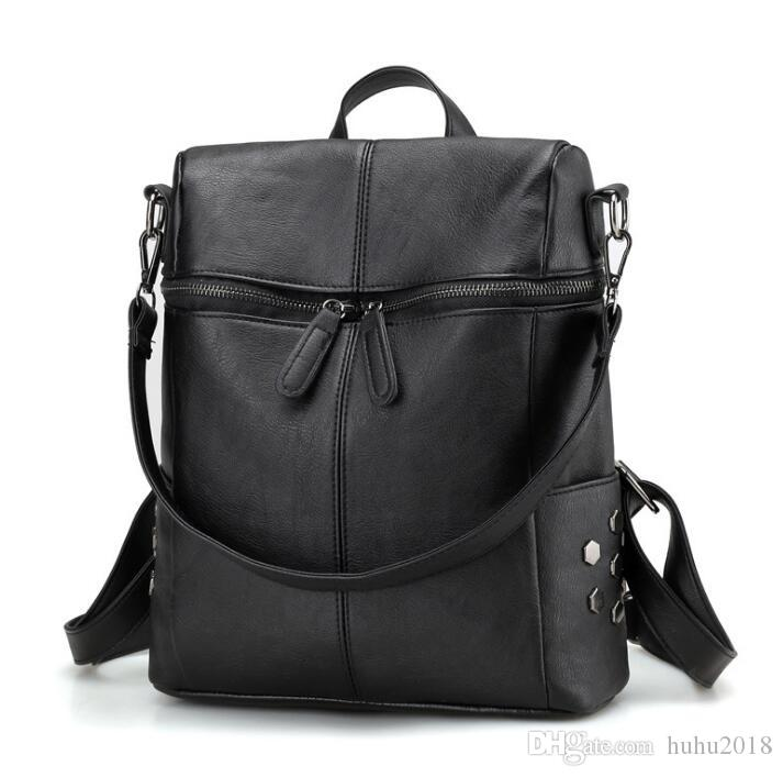 8152018f6da0 Simple Style Backpack Women PU Leather Backpacks For Teenage Girls School  Bags Fashion Vintage Solid Black Shoulder Bag Herschel Backpacks Best  Backpacks ...
