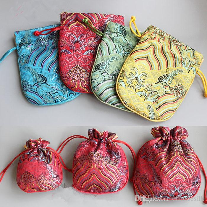Seawater Small Chinese Silk Jewelry Pouch Drawstring Fabric Gift Bag Vintage Cute Packaging Bags with lined size 10.5 x 12.5 cm