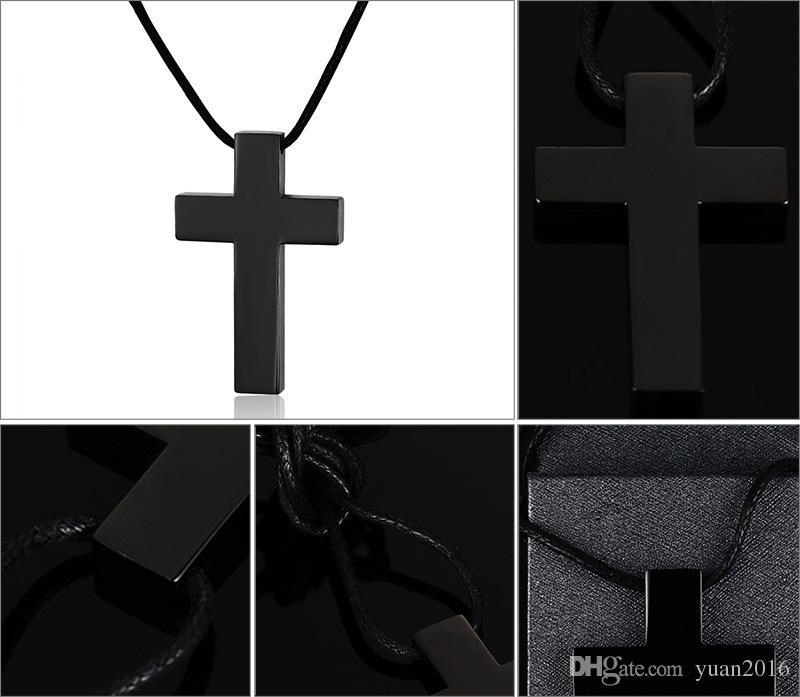 Kostenloser Versand Edelstahl Einfache Kreuz Anhänger Halskette Poliert für Männer Jesus Christus Lord Prayer, Free Chain