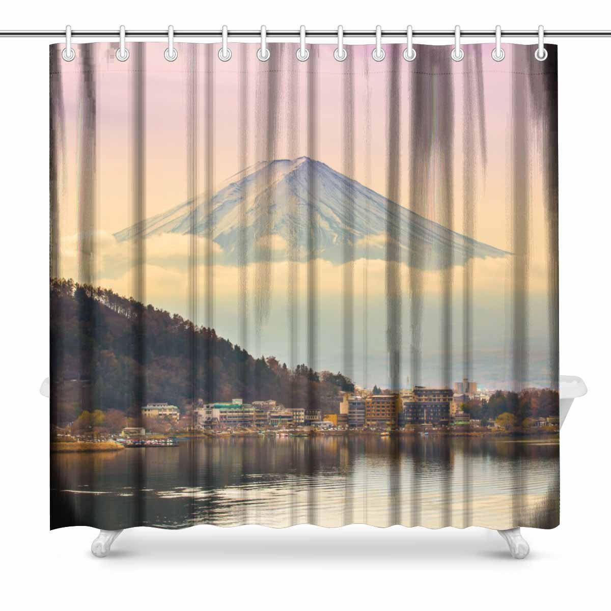 2019 Aplysia Mount Fuji At Kawakuchiko Lake In Japan Fabric Bathroom Shower Curtain Decor Set With Hooks 72 X Inches From Huayama 3005