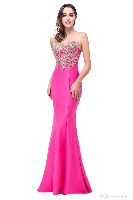 Compre Custom Make Mermaid Prom Dresses 2018 Sheer Jewel Neck Long ...