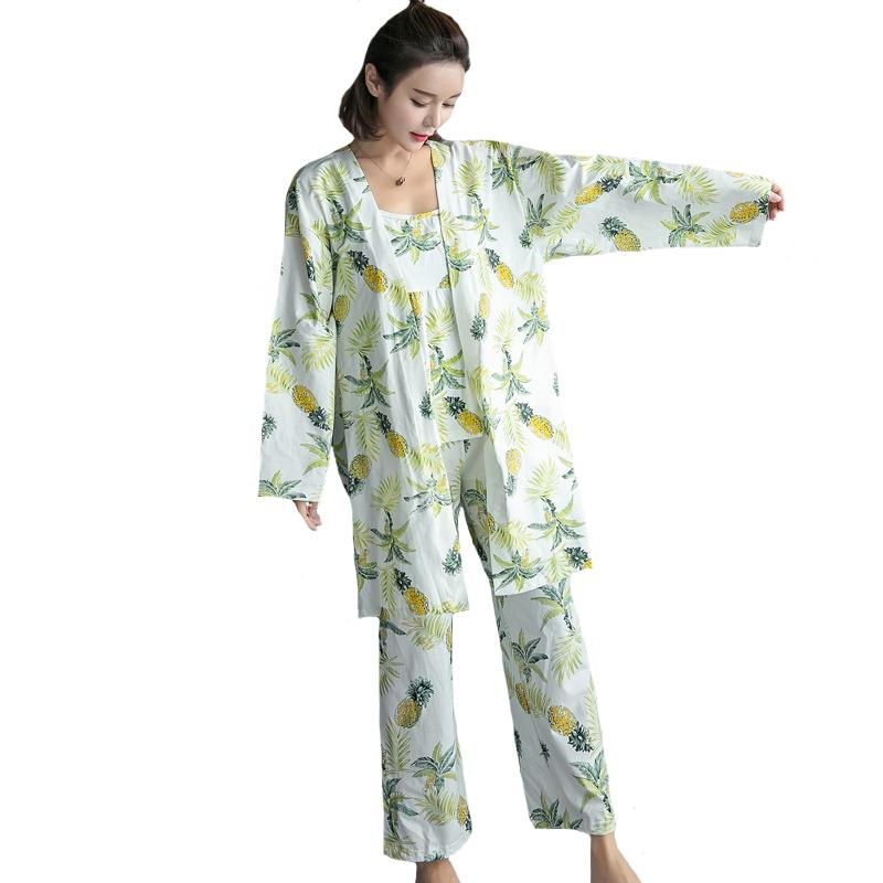 d54db83182 2019 2018 New Cotton Pajamas Pijama Set Print Sexy Sleepwear Women Strap  Top+Pants+Robe Sleep Suit Casual Home Clothes M XL From Crape