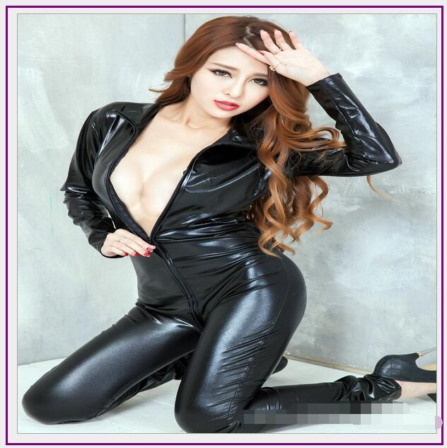 Hot Sexy Lingerie Latex Pvc Dress Jumpsuit Zentai Costume Women Black Catsuit Pole Dance Clothes Clubwear Bodysuit Game Uniforms