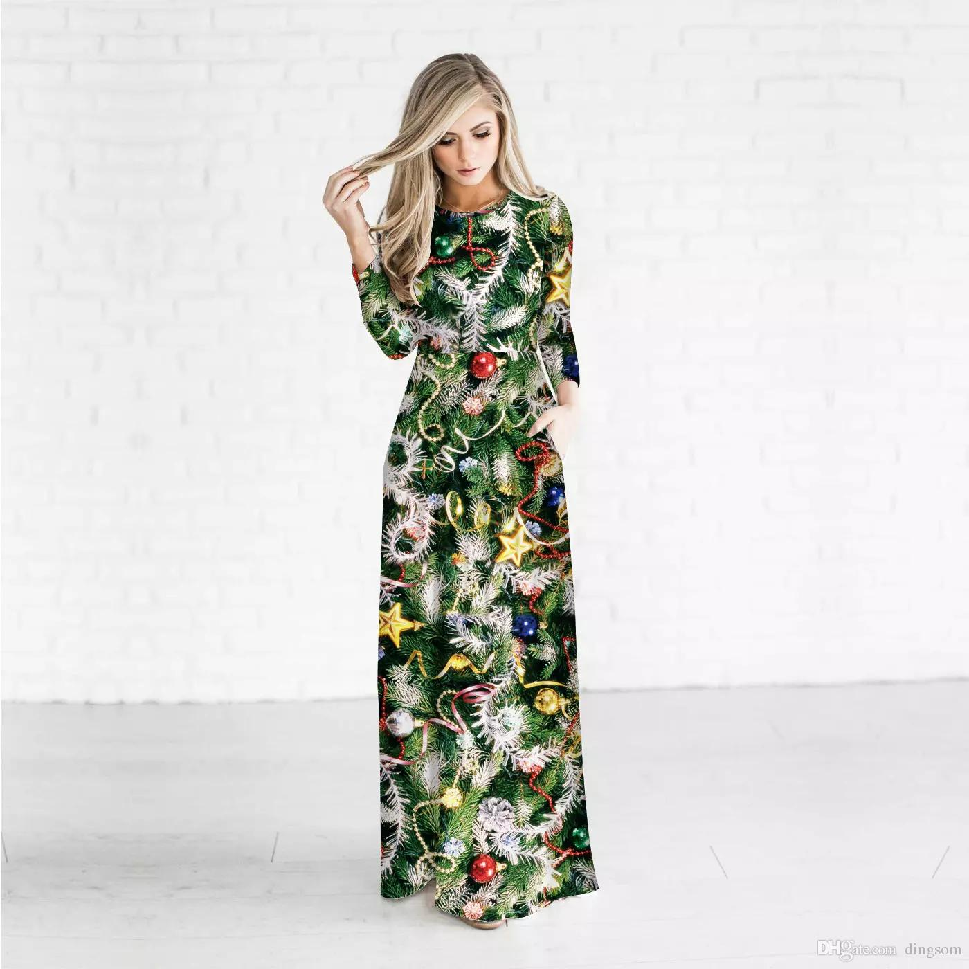 New Christmas Tree Printed Women 3D Print Dress Winter Crew Neck Slim Fit Ankle Length Lady Maxi Dress