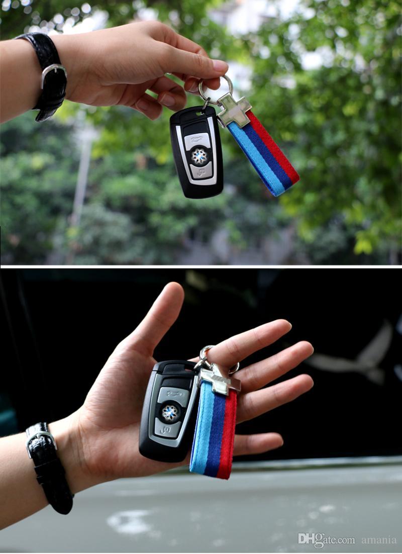 For BMW M Tech M Sport Leather Belt Chrome Keyring E46 E39 E60 F30 E90 F10 F30 E36 X5 E53 E30 E34 X1 X3 M3 M5
