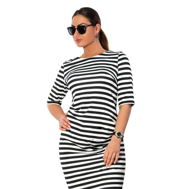 3173c71eaf1e M L XL XXL Plus Size Brand Women's Clothing O Neck Zebra Striped Dress  Europe Hot Style Large Big Size Casual Dress Vestidos