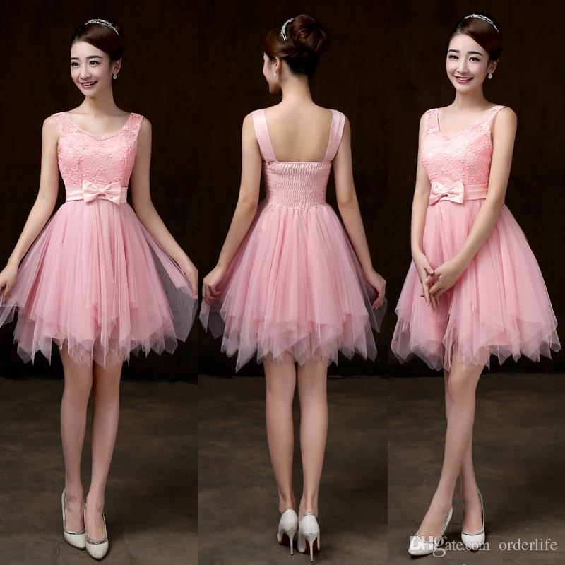 Doce Memória cinza curto da dama de honra vestidos de noiva irmã convidados desempenho palco champanhe rosa vestido de dama de honra SW0013