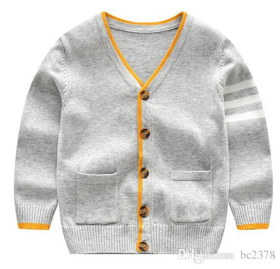 236b29066 Toddler Sweater Baby Boy Cardigan Left Hand With Striped V Neck ...