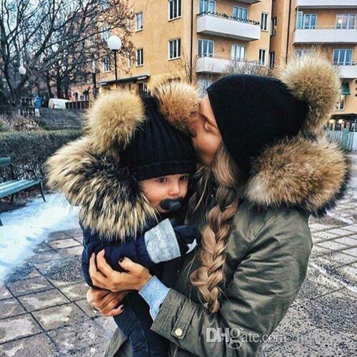 f1ba80053486b DARCHROW Cute Winter Mom Women Baby Kids Crochet Knitted Hat Caps ...