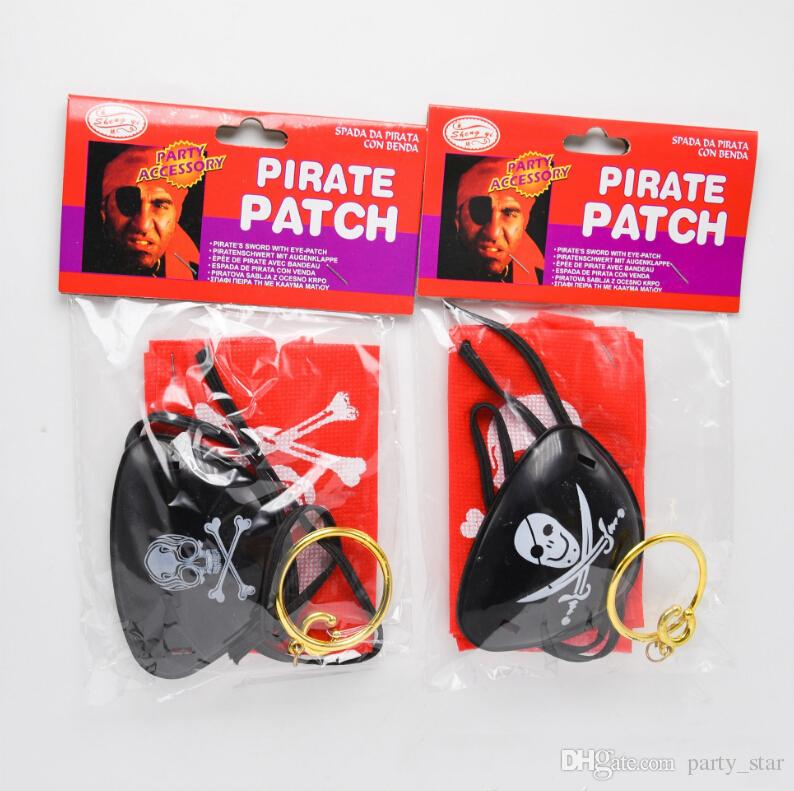 Bag Adult Children Party Pirates Prop Set Halloween Birthday Decorations Funny Eye Mask Silk Scarves Earrings