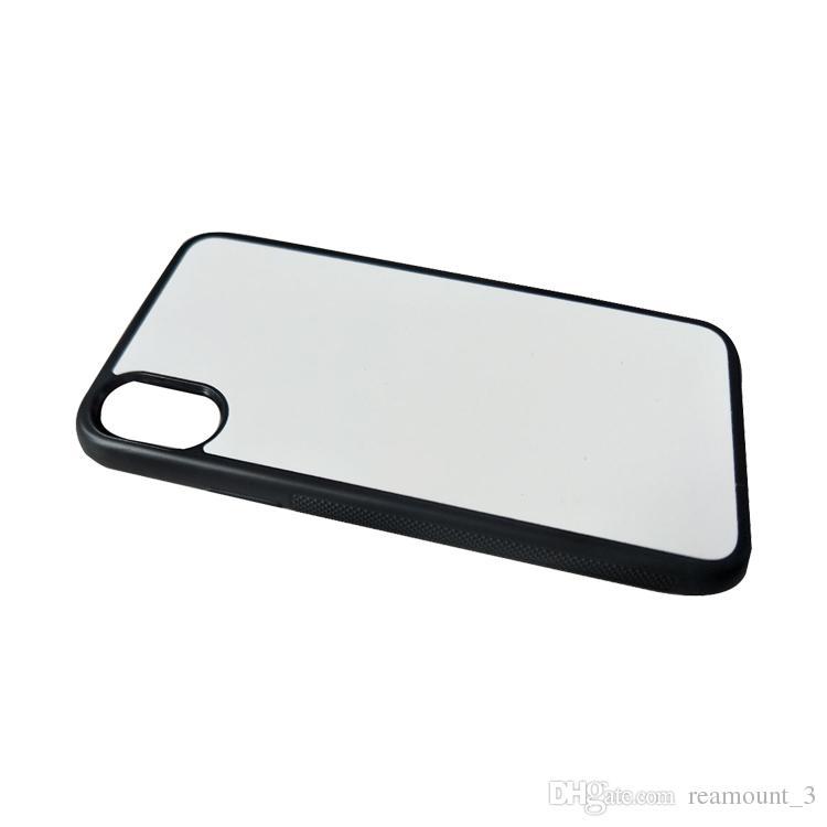 10 개 아이폰 8에 대한 도매 DIY 승화 2 차원 실리콘 케이스 아이폰 엑스에 대한 인쇄 열전달 방지 커버 승화 케이스
