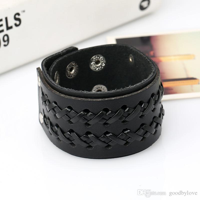 Punk Mens Jewelry Black Cuero de Vaca Real 4CM 1.57