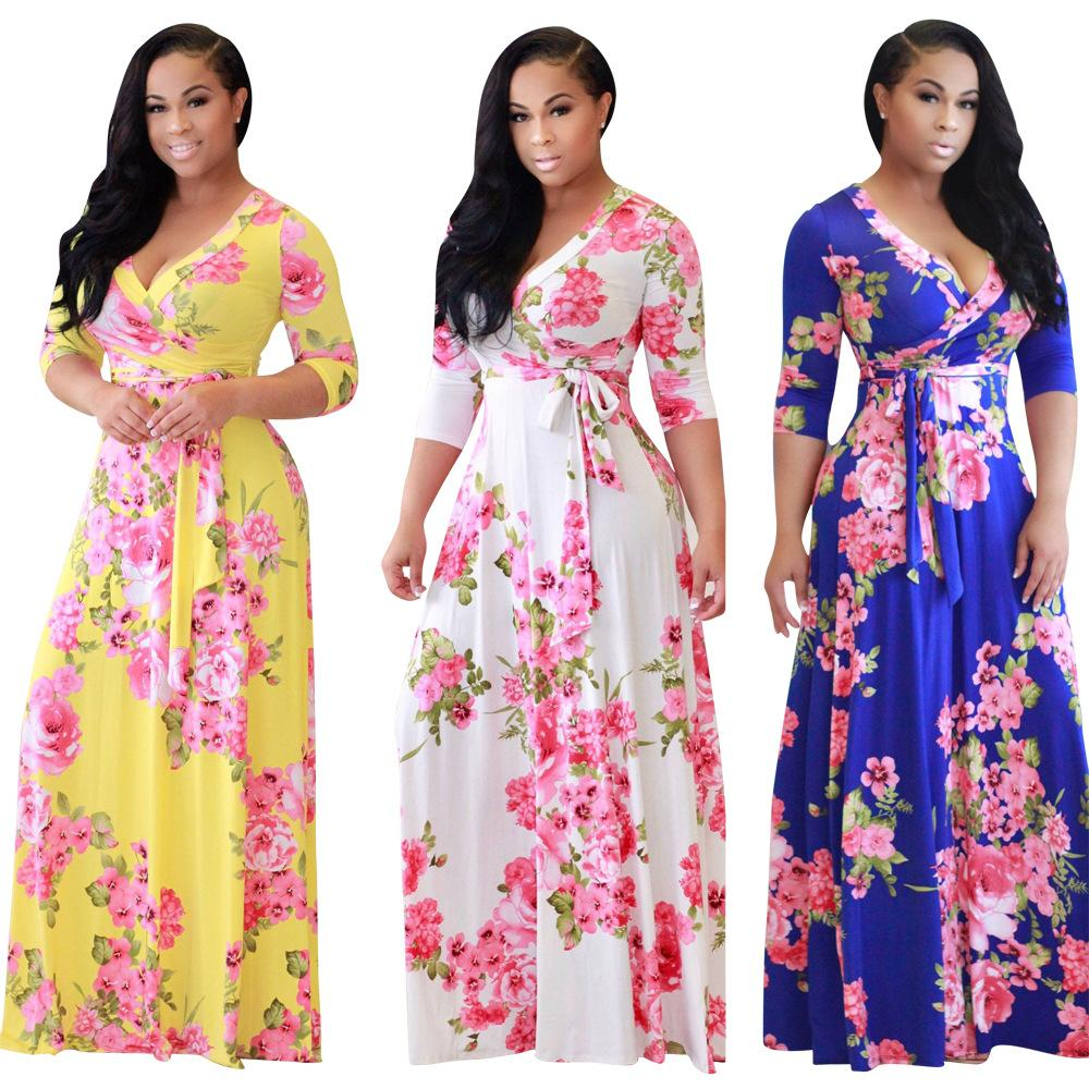 5361372302757 2017 Indian Sari Dresses And The New Product Sell Like Hot Cakes Style  Fashion Digital Printing V-neck Full-skirted Dress Sexy