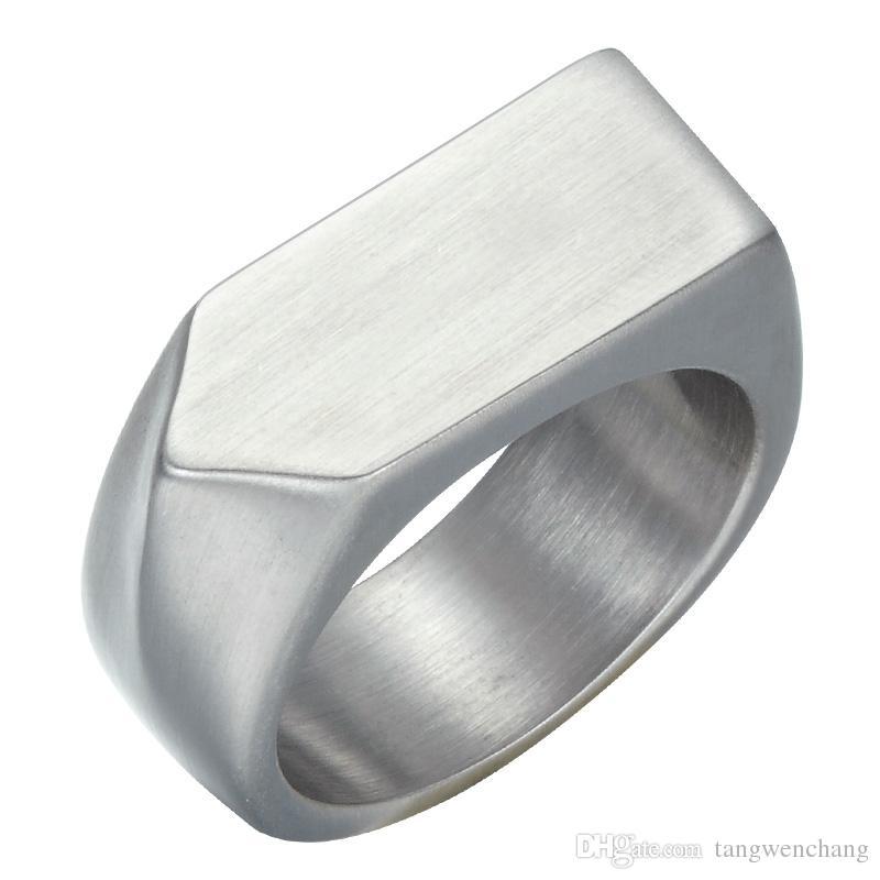 Mens cor de ouro anéis geométricos titanium aço inoxidável quadrado dedo signet anéis para homens jóias anel masculino