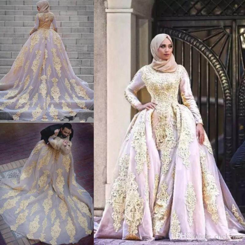 Discount Muslim Overskirts Wedding Dresses Plus Size Bridal Gowns