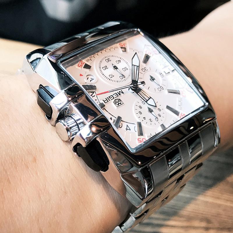 34f9aa7e568 Compre MEGIR Homens Big Dial De Negócios De Moda De Quartzo Analógico  Relógio De Pulso De Aço Inoxidável Strap Sports Relógios Relógio Masculino  Relogio ...