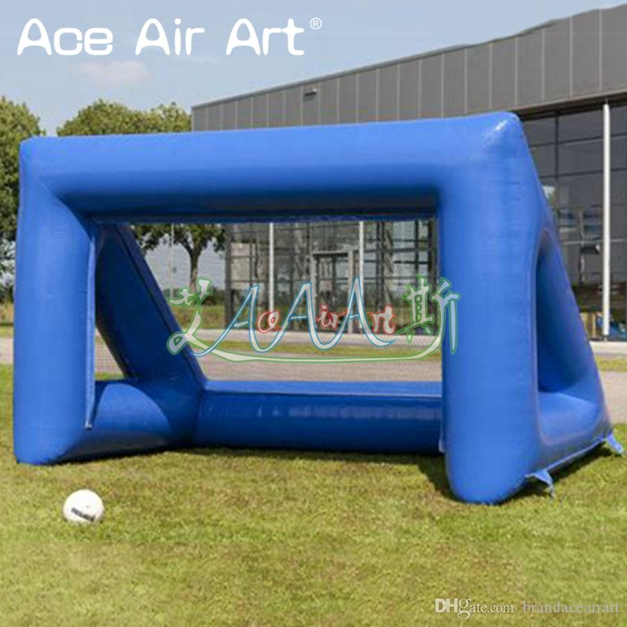 Royal blue inflatable football penalty shoot out,footablle target/cage,shoot with air blower