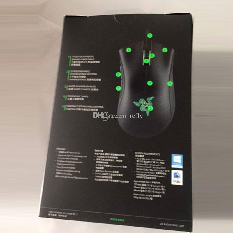 Компания Razer улучшение цветности USB проводной мыши оптический игровой датчик 10000dpi компьютерную мышь Razer DeathAdder мышь мышей