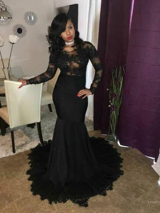 5ae2b607e7b12 2019 Sexy Black Mermaid Prom Dresses Long Sleeves Lace Applique African  Evening Gowns Zipper Back Vestidos De Festa Elegant Prom Dresses Lace Prom  Dress ...