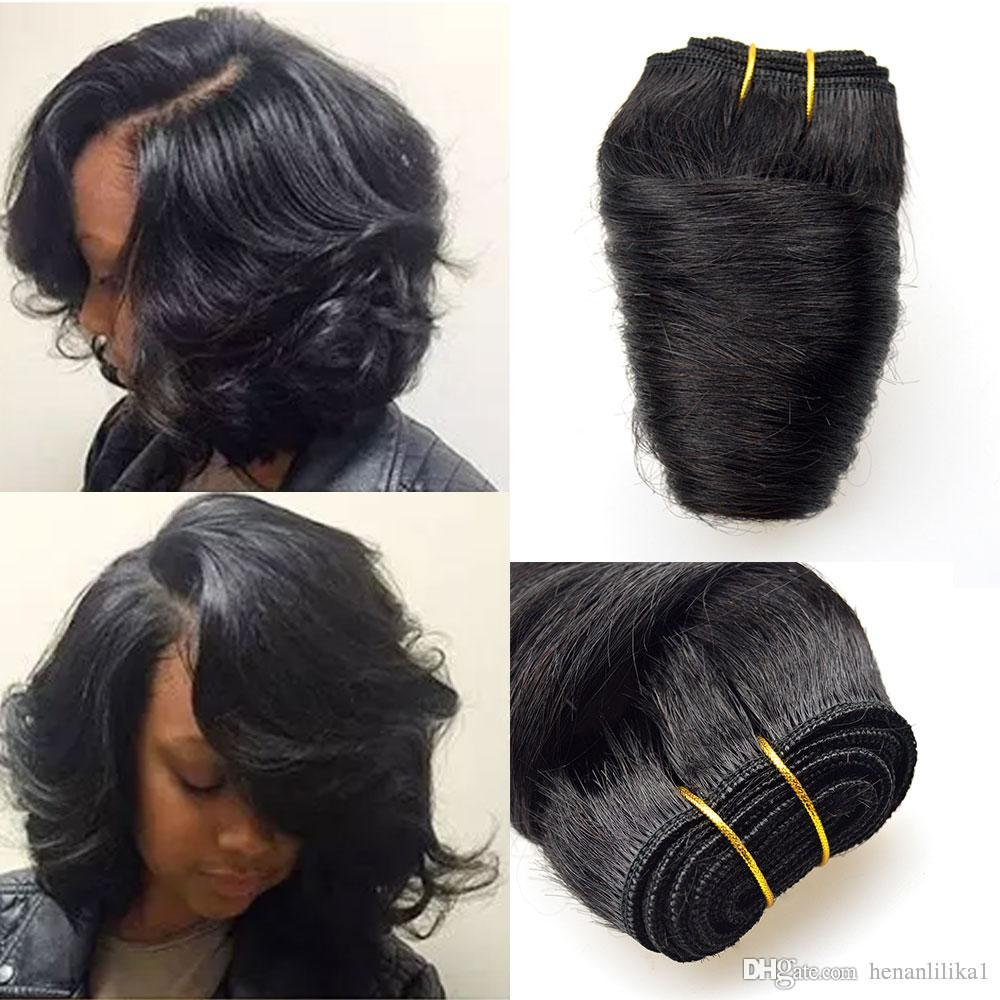 Barroko Hair Bob Sew Peruvian Loose Wave 6bundles Natural Black 8