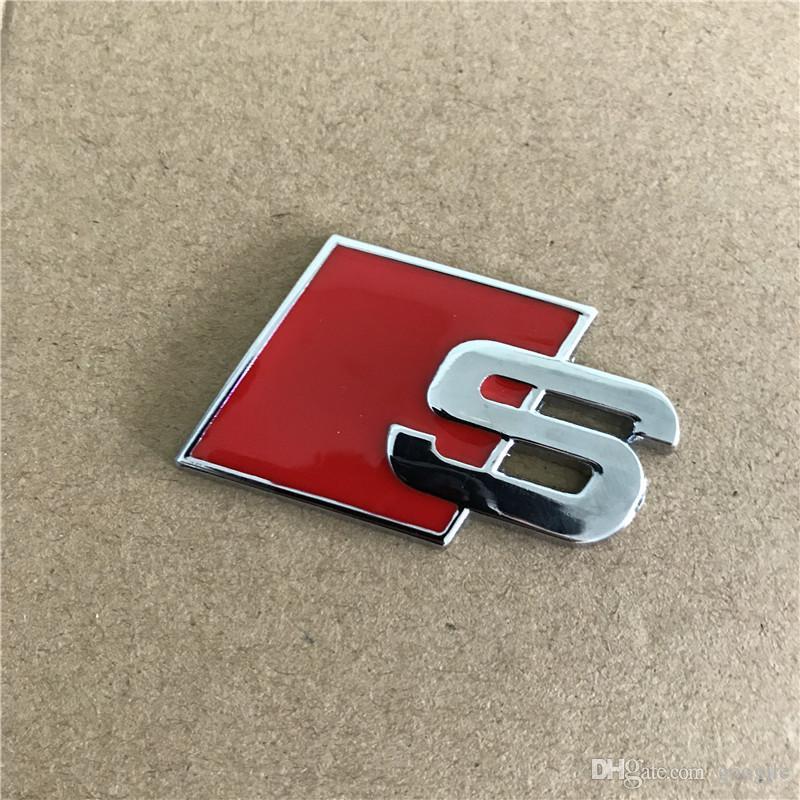 금속 S 로고 Sline 엠블럼 배지 자동차 스티커 레드 블랙 전면 후면 부팅 도어 사이드에 맞추기 위해 아우디 콰트로 VW TT SQ5 S6 S7 A4 액세서리