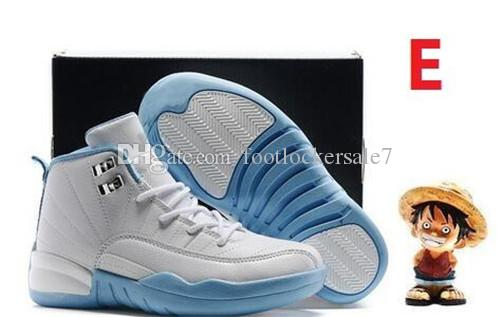 2018 classic Boys Girls 12 12s Kids Basketball Shoes Little Baby Boys Girls Childrens 12s French Blue Toddlers Birthday Gift size 28-35