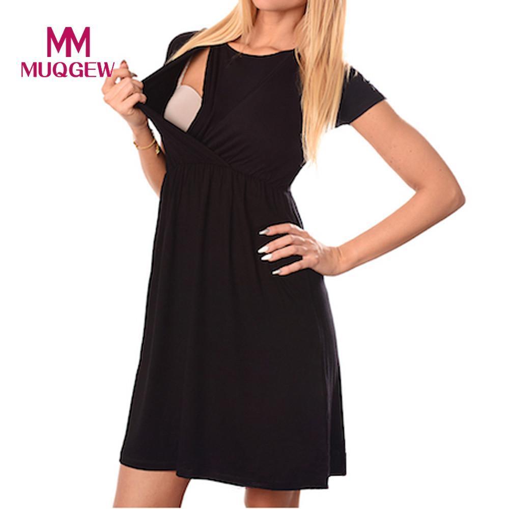 new product b9aab 402e7 Abbigliamento premaman Vestito infermieristico da donna Avvolgere Vita alta  Manica corta Doppio strato Abbigliamento da donna per l allattamento