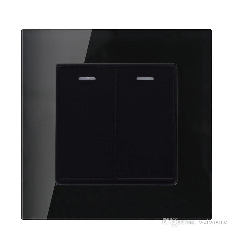 Glass panel Black color 2 Gang 1 way / 2 way wall switch and 10A 220-250V lamp switch and light switch