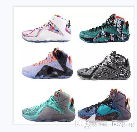 d9f12294c15 2019 High Quality Athletic LeBron 12 Elite Basketball Shoes Men What The  Black White Metallic Gold Multi Sneaker From Bozging