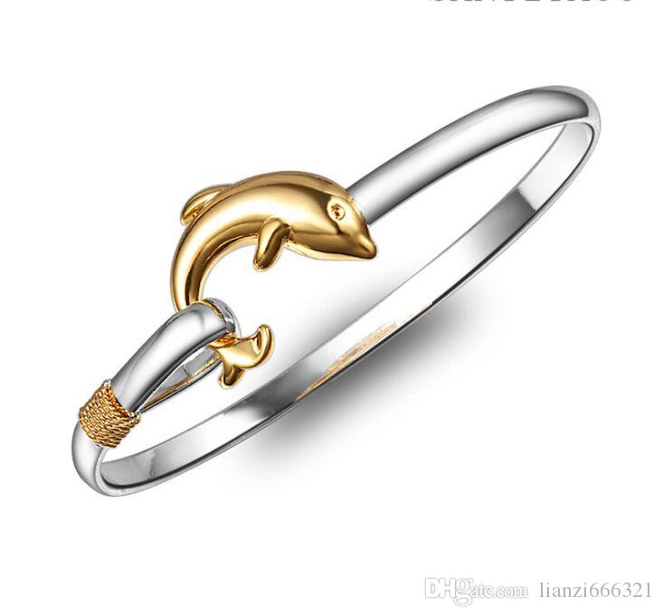 hot gift factory price Silver with Gold charm bangle Fine Noble mesh Dolphin bracelet fashion jewelry 1835
