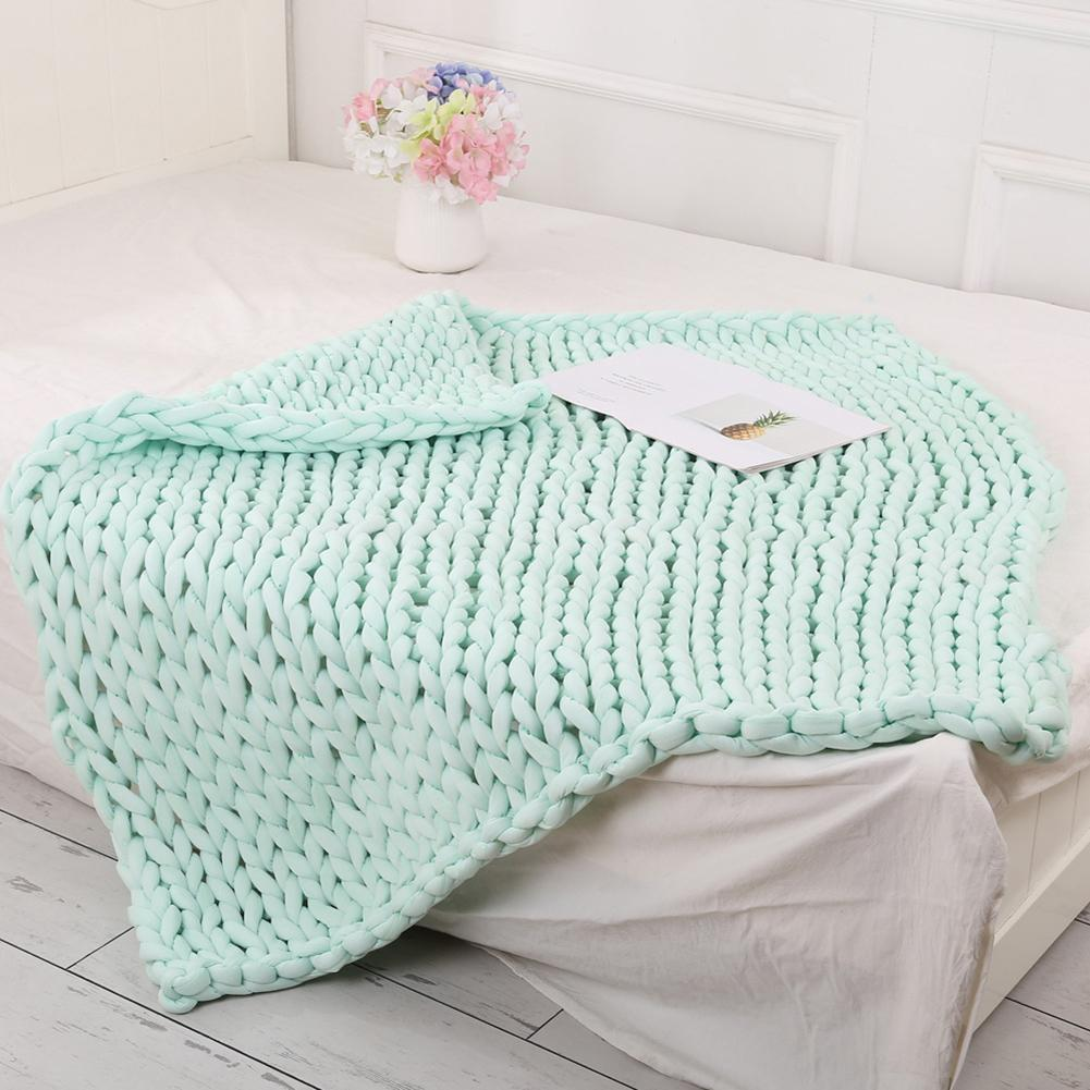 New Soft Thick Line Knitted Blanket Hand Weaving Sofa Bed Decor