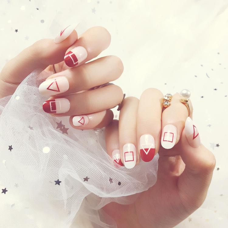 Pre Glue White Red Press On Fake Nails With Geometric Designs Long