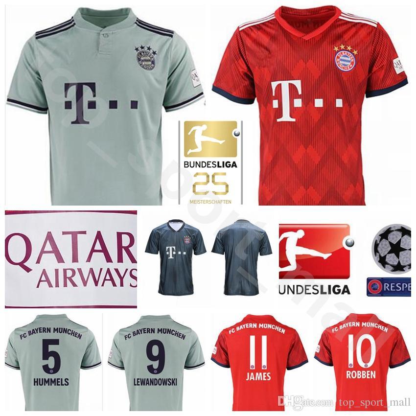 2b489cab668 2019 2018 2019 Bundesliga Soccer Bayern Munich Jersey Men 9 LEWANDOWSKI 10  ROBBEN 11 JAMES 25 MULLER 5 HUMMELS Football Shirt Kits Red Green From ...