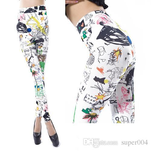 a018d4647d9a 2019 2018 New Womens Leggings Cotton Sunflower Graffiti Print Women Legging  Pants Multicolors Sexy Casual Outer Fashion Clothing From Super004, ...