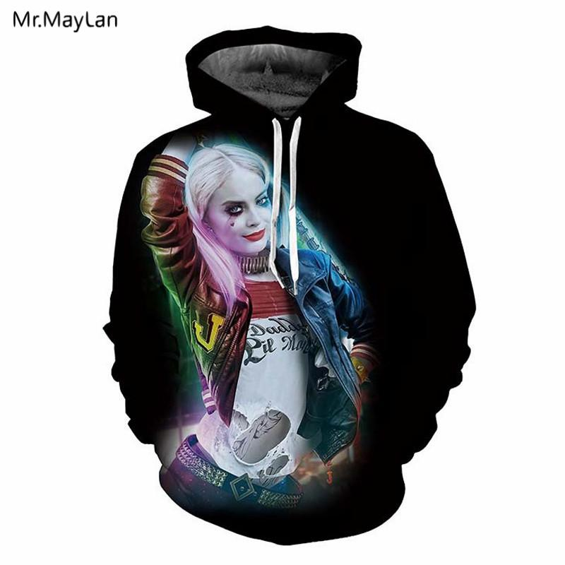 31fa17c0f58f 2019 Movie Suicide Squad Harley Quinn 3D Print Hat Sweatshirts Men Women  Cool Rock Pullovers Hoodies Jacket Boys Casual Outfits 5XL From Honey111