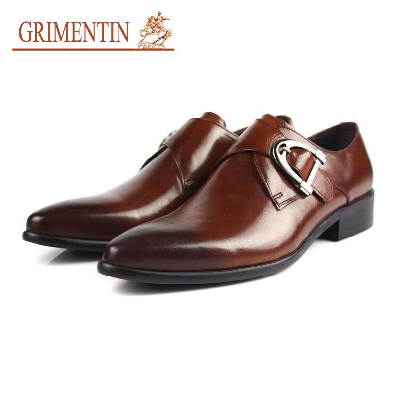 Compre GRIMENTIN Zapatos De Hebilla De Los Hombres Informal Negro Suela De  Goma Marrón Cuero Genuino Para Hombre Vestido De Zapatos De Negocios Del  Trabajo ... c9f8093abcf4