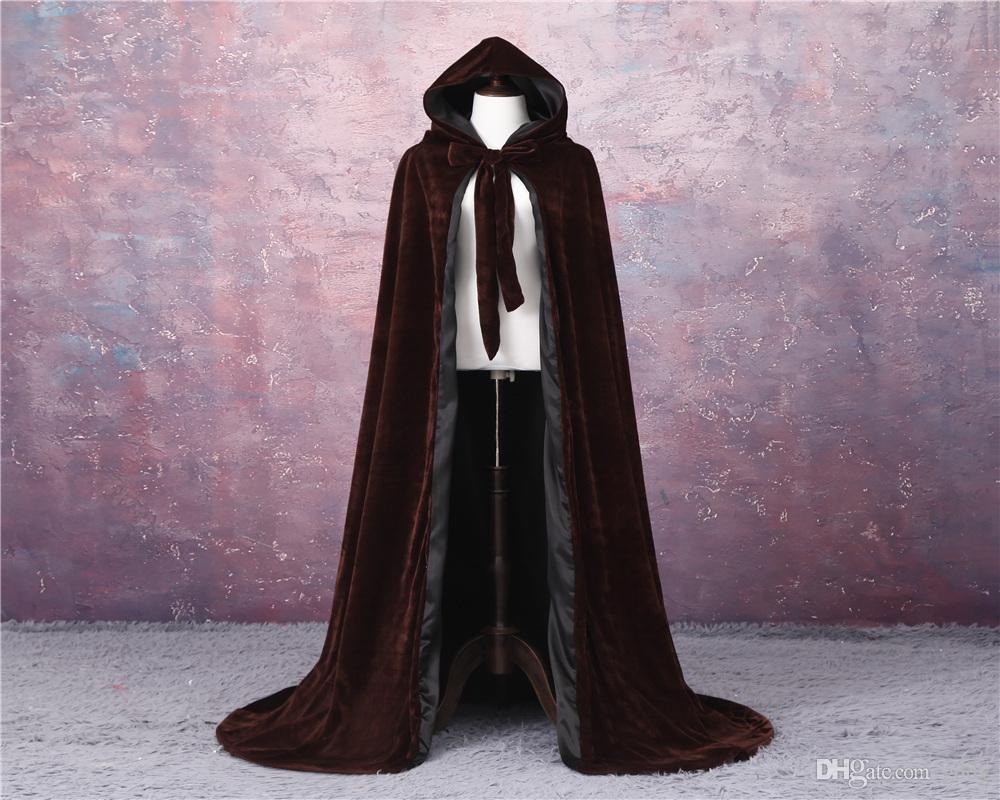 Velvet manto do casamento do inverno Manto Cape Noiva do casamento Calor Manto baratos Wicca Robe WRAM Natal até o chão Longo nupcial do casamento Jacket